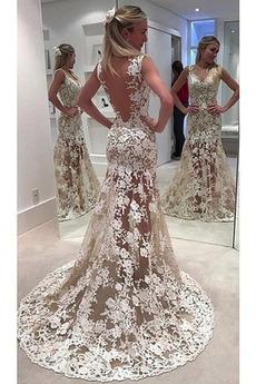 Robe de mariée Sirène Romantique Col en V Sans Manches Médium