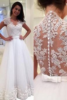Robe de mariée Gaze Médium Traîne Courte Naturel taille Automne
