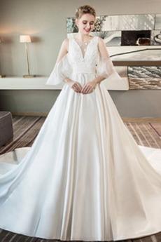 Robe de mariée Sans Manches A-ligne Satin Printemps Naturel taille