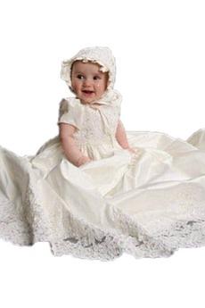 Robe de baptême Satin Petites Tailles Manche Courte Formelle Princesse