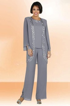Robe de mère pantalon de costume Printemps Manche Longue Chiffon