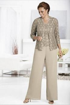 Robe de mère pantalon de costume Longueur Cheville Chiffon Automne