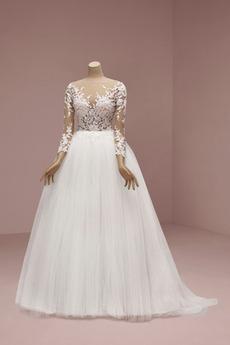 Robe de mariée Dos nu aligne Appliquer Désirable Printemps Médium