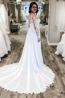 Robe de mariée Simple Manche Longue Fermeture éclair Printemps Longue