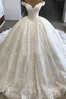 Robe de mariée Organza aligne Formelle Épaule Dégagée Chaussez Salle