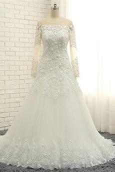 Robe de mariée Longueur ras du Sol A-ligne Lacet Manche Aérienne