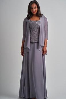 Robe Mère de Mariée Avec la veste Zip Naturel taille Chiffon Éternel