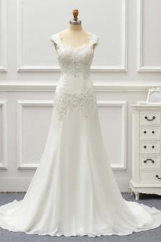 Robe de mariée Couvert de Dentelle Plage Mode Fourreau Avec Bijoux