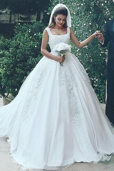 Robe de mariée Glissière De plein air a ligne Col Carré Satin