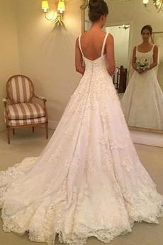 Robe de mariée Vintage A-ligne Eglise Poire Bouton Traîne Mi-longue