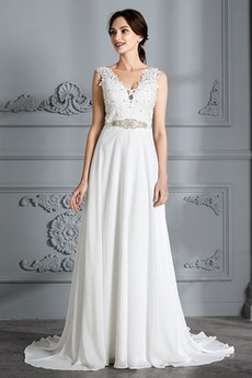 Robe de mariée De plein air noble Sans Manches A-ligne Norme Haut Bas
