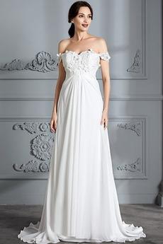 Robe de mariée Épaule Dégagée Jardin Longue taille haut Médium