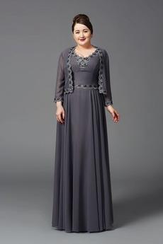 Robe Mère de Mariée Plus la taille Manche de T-shirt Traîne Courte
