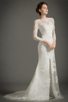 Robe de mariée noble Col Bateau Zip Été Traîne Mi-longue Appliquer