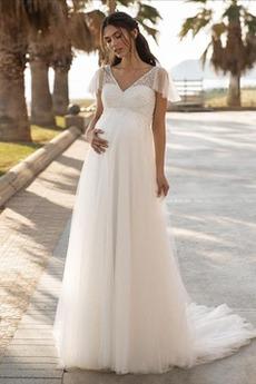 Robe de mariée Simple Bouton A-ligne Maternité Plage Traîne Courte