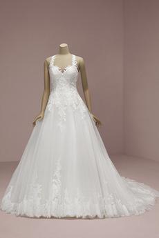 Robe de mariée Appliques Classique Naturel taille A-ligne Sans Manches