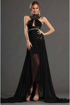 Robe de Bal Dramatique Fourreau semi-couverte Chiffon Médium Noir