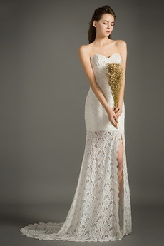 Robe de mariée Sirène Médium Traîne Courte Tissu Dentelle Col en Cœur
