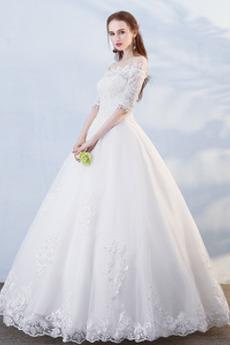 Robe de mariée 1/2 Manche Couvert de Dentelle Plage Hiver aligne