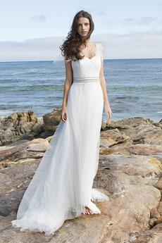 Robe de mariée Traîne Mi-longue Manche Courte Été Plage Glissière