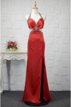 Robe de Bal Satin Élastique Sans Manches Automne Elégant Naturel taille