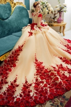 Robe de mariée Hiver Col Bateau Formelle Organza Zip Orné de Rosette