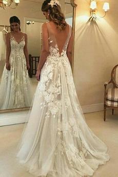 Robe de mariée Col en V Longue A-ligne Médium De plein air Sans Manches