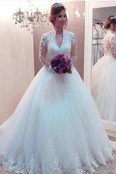 Robe de mariée Manche Longue Col Élisabéthain Zip Manche Aérienne