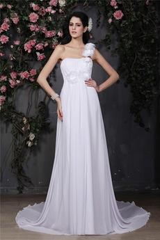 Robe de mariée Norme Chiffon A-ligne Bretelle Unilatérale de Fleuro