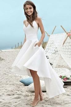 Robe de mariée Plage Poches Sans Manches Asymétrique Zip Naturel taille