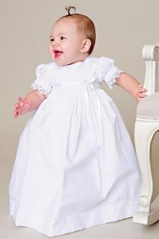 Robe de baptême Manche de Ballon Orné de Nœud à Boucle Soie Princesse