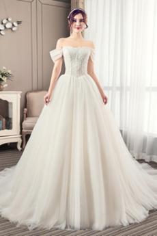 Robe de mariée Été Manche Courte Salle Manquant Mancheron A-ligne