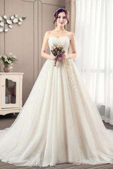 Robe de mariée Bustier A-ligne Automne Chaussez Traîne Moyenne