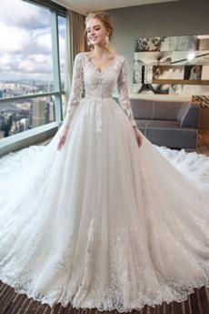 Robe de mariée A-ligne Salle Manche Aérienne Col en V Col en V Foncé