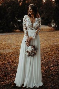 Robe de mariée Manche Longue Fleurs A-ligne De plein air Manche Aérienne
