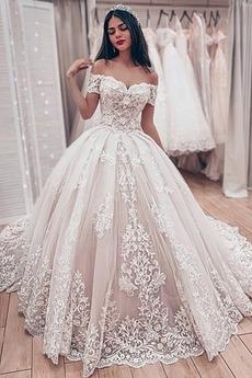 Robe de mariée Lacet Classique Chapelle A-ligne Satin Médium
