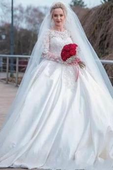 Robe de mariée Naturel taille Appliquer Traîne Moyenne Salle Froid