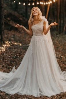 Robe de mariée Tulle Une épaule Norme Zip Train de balayage Naturel taille