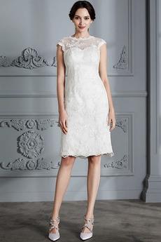 Robe de mariée Dentelle Glamour Naturel taille Col ras du Cou
