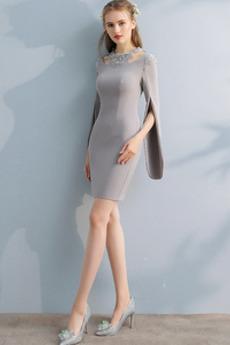 Robe de Cocktail Courte Printemps Petites Tailles Glamour Col ras du Cou