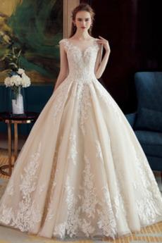 Robe de mariée Hiver Tissu Dentelle A-ligne Perle Sans Manches Formelle