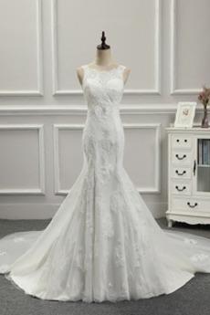 Robe de mariée Sirène Lacet De plein air Dépouillé Col rond Appliquer