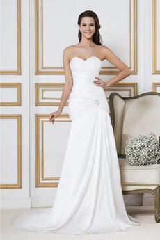 Robe de mariée Simple Soie Plage Taille chute Longue Corsage plissé