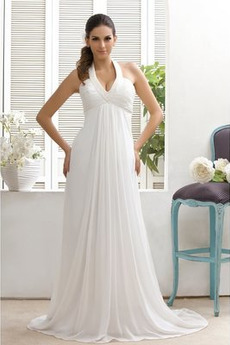 Robe de mariée Empire Chiffon Plage Sablier Fourreau plissé Empire