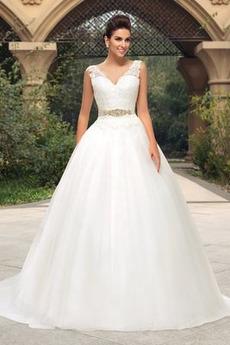 Robe de mariée Dos nu A-ligne Couvert de Dentelle Satin Naturel taille