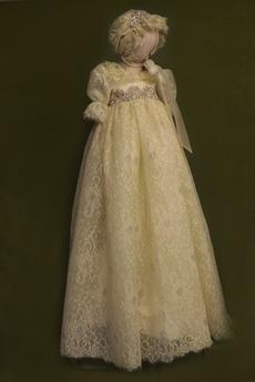 Robe de baptême Haute Couvert Manche Courte Empire Perler Princesse