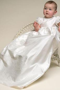 Robe de baptême Empire Plissé Médium Satin Col de chemise t Formelle