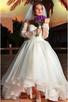 Robe de mariée Manche Longue Naturel taille Traîne Moyenne Salle Été