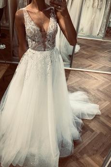 Robe de mariée Traîne Mi-longue Broderie Simple a ligne Été Zip