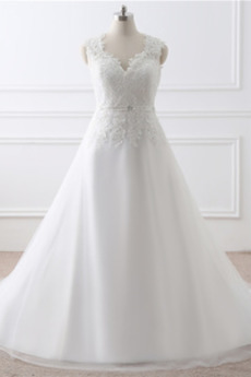 Robe de mariée Haut Bas Cérémonial Sans Manches A-ligne Gaze Chapelle